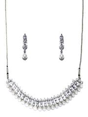 Zaveri Pearls Silver-Plated Jewellery Set