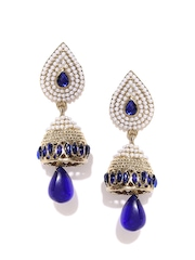 Zaveri Pearls White & Navy Gold-Plated Jhumka Drop Earrings