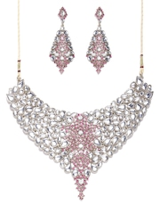 Zaveri Pearls White & Pink Jewellery Set