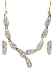 Zaveri Pearls White Gold-Plated Jewellery Set