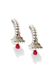 Zaveri Pearls White Gold-Plated Drop Earrings