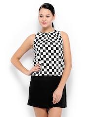 Zink London Black & White Checked Drop Waist Formal Dress