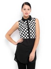 Zink London Women Black & White Checked Tunic