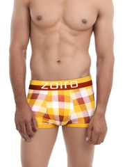 Zoiro Men Orange & Red Checked Trunks Trento 0072