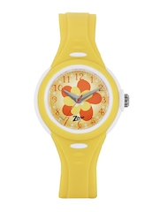 Zoop Kids Yellow & Orange Floral Print Dial Watch