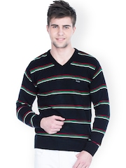 Zovi Men Black Striped Sweater