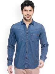 Zovi Men Blue Denim Slim Fit Casual Shirt