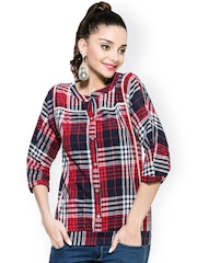 Zovi Women Red & Navy Checked Top