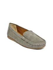 Zuicy Women Grey Suede Loafers