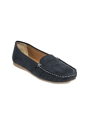 Zuicy Women Navy Suede Loafers