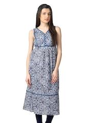 W Women Blue Printed Kurta