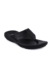 Clarks Men Leather Black Slippers