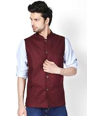 even Men Burgundy Slim Fit Linen Nehru Jacket