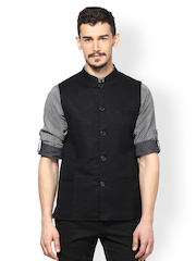 even Men Black Slim Fit Nehru Jacket