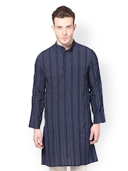 even Men Navy Striped Kurta
