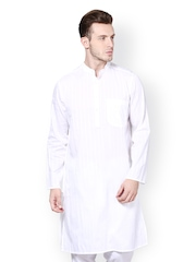 even Men White Striped Kurta