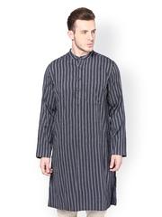 even Men Blue & Black Striped Kurta