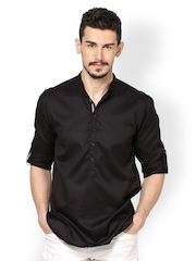 even Men Black Kurta