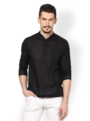 even Men Black Striped Kurta