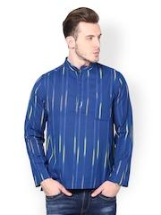 even Men Blue Striped Kurta