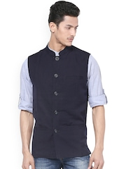 even Men Navy Nehru Jacket