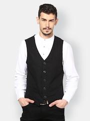 even Men Black Waistcoat