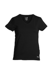 Jockey Women Black V-neck T-Shirt