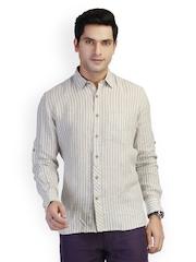 laven Men Beige Striped Linen Tailored Fit Casual Shirt