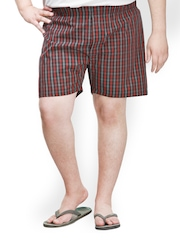 plusS Men Grey & Red Checked Boxers MBX 208-GREY RED