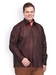plusS Men Red Smart Casual Shirt