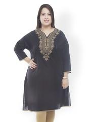 plusS Women Black Embroidered Kurta