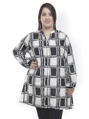 plusS Women Black & White Printed Tunic