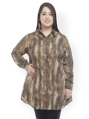 plusS Women Brown Animal Print Tunic