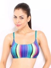 Roxy Women Multicoloured Striped Bikini Top