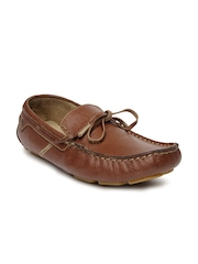 tZaro Men Brown Knotty Leather Loafers