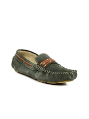 tZaro Men Olive Green Loafers