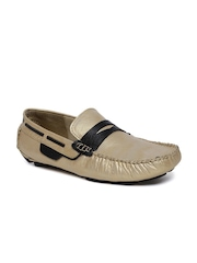 tZaro Men Gold-Toned Leather Loafers