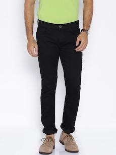 HIGHLANDER Men Black Slim Fit Mid-Rise Jeans