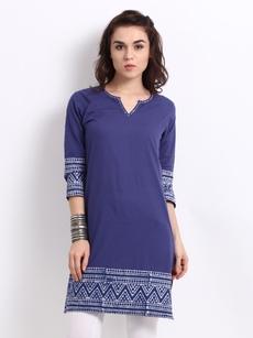 Anouk Women Blue & White Printed Kurta
