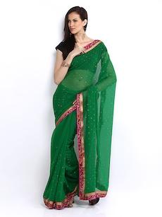 Anouk Green Printed Chiffon Fashion Saree