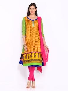 Anouk Women Multi-Coloured Printed Anarkali Churidar Kurta with Dupatta