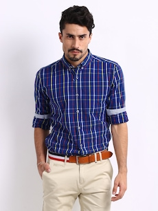 Mast & Harbour Men Blue & Yellow Checked Slim Fit Casual Shirt