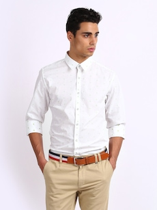 Mast & Harbour Men White Printed Cotton Slim Fit Casual Shirt
