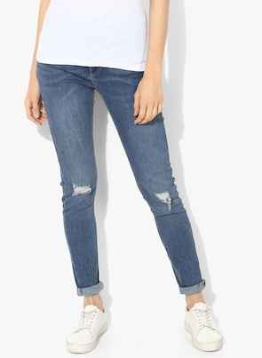 Blue Washed High-Rise Slim Fit Jeans