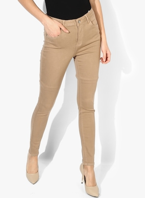 Beige High-Rise Slim Fit Jeans