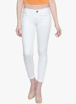 White Mid-Rise Slim Fit Jeans