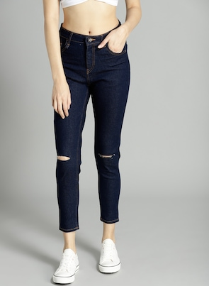 Navy Blue High-Rise Skinny Fit Jeans