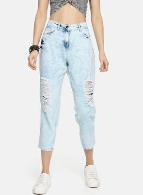Blue High-Rise Boyfriend Fit Jeans