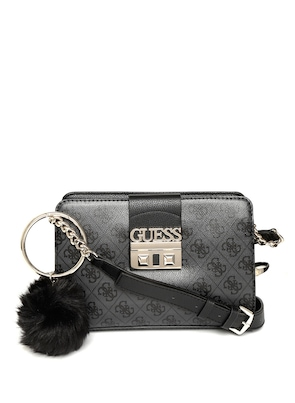4f28e9820124 Buy GUESS Charcoal Grey   Black Printed Sling Bag Online - 8401177 - Jabong