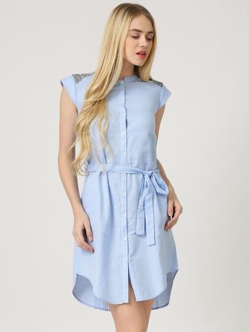 Marie Claire Blue Jacquard Shirt Dress